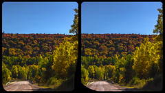 Indian Summer on Route 129 3-D / CrossView / Stereoscopy / HDRaw (Stereotron) Tags: north america canada province ontario indiansummer autumn fall forest woods outback backcountry wilderness nature landscape cross eye view xview crosseye pair free sidebyside sbs kreuzblick bildpaar 3d photo image stereo spatial stereophoto stereophotography stereoscopic stereoscopy stereotron threedimensional stereoview stereophotomaker photography picture raumbild hyperstereo twin canon eos 550d remote control synchron kitlens 1855mm 100v10f tonemapping hdr hdri raw