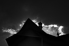 jagged sky (Neko! Neko! Neko!) Tags: blackandwhite blackwhite bw mono monochrome sky clouds storm contrast light darkness church emotion feeling expression expressionism