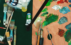 Paintbrushes and Colors (dejankrsmanovic) Tags: paintbrush brush ink oil paint color vivid abstract background various object stilllife lifestyle art artistic painted paintings craft skill tool equipment table board wooden wood green natural old used dirty creativity creative messy content stick pallet scale
