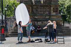 The Interview (Fermat 48) Tags: albertsquare manchester interview manchestereveningnews filmcrewe diffuser microphone lunchtime sunshine sunny canon eos 7dmarkii spotted reflector