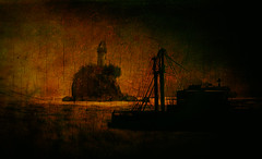Until the Darkness Killed the Light (Gianmario Masala [inworld]) Tags: photoshop blur blurry colors landscape isleofmay gianmariomasala texture textured trees nature painterly bushes pictorial view sky sea ocean waves buildings lighthouse ship reef rocks dark darkness color cracked colorful