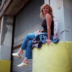 Lindsey Blue Denim 2 (neohypofilms) Tags: series blonde denim blue bleu hair jeans style fashion shoes clogs barefoot urban 120 film hasselblad color colour retro 70s street photography