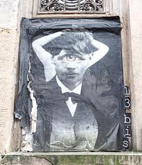 Pasted paper by 13 bis [Paris 20e] (biphop) Tags: europe france paris streetart pasted paper pastedup collage wheatpaste wheatpaper 13 bis treize 13bis