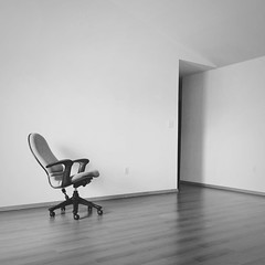 Move Out (whatsayjk) Tags: mobile iphone arkansas moving minimal minimalism black white monocrhome blackandwhite chair empty lines contrast