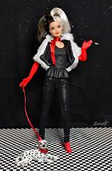 Cruella de Vil's daughter (saratiz) Tags: crudelia cruella blackandwhite dog barbiemadetomove barbiefashionista skipper