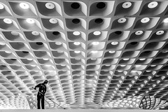 Mumbai, India (gstads) Tags: mumbai bombay india indian maharashtra airport chhatrapatishivaji architecture line lines geometry geometric repetition contrast blackandwhite bw monochrome noiretblanc cleaner