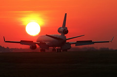 sunrise landing... (GeorgeM757) Tags: md11f landing sunrise kcle aircraft alltypesoftransport aviation airport airfreight mcdonnelldouglas georgem757 canon70d clevelandhopkins