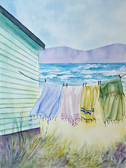 Hanging to Dry (cheryl402) Tags: watercolor painting clothesline drying hanging