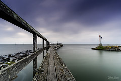 Cloudy Morning (Johan Konz) Tags: water rock stone waterscape seascape jetty pier edam markermeer netherlands outdoor le longexposure nikon d7500 sea blue cloud sky depth coast shore bay fishingpole