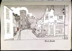 Beer, Devon 19 July 2018 (oxlade134) Tags: devon beer village england sketch drawing pen ink architecture old cloud
