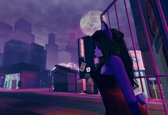 It's a beautiful night (Smolfluff) Tags: secondlife sl second life furry anthro sugarcult foxenhead outdoors starrynight moon sexy reddress city sweetthing bellezafreya