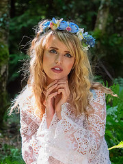 Angel in the Woods (fstop186) Tags: angel magical innocent nymph fairytale blonde flowers garland blue eyes girl