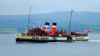 Scotland Greenock the paddle steamer Waverley zooming along video 13 July 2018 by Anne MacKay