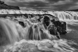 Friðland við Gullfoss Upper Falls Black and White