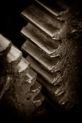 Meshing Gears (EdBob) Tags: industrial machine gears teeth sepia blackwhite blackandwhite vintage old classic graphic design lewishine metal machinery mesh meshing edmundlowephotography edmundlowe dark allmyphotographsare©copyrightedandallrightsreservednoneofthesephotosmaybereproducedandorusedinanyformofpublicationprintortheinternetwithoutmywrittenpermission rusty pattern art grease greasy broken iron steel industry