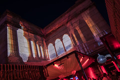 indian temple view (genelabo) Tags: add tags red pink rot india indien magic dome projektion projection amazon sommerfest summer party visuals pani p1 sky people illumination hdk hausderkunst grossbildprojektion bigscreen grosbild