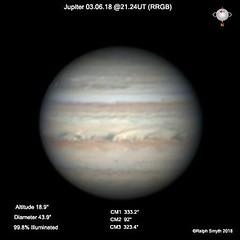 Jupiter 03.06.18 @21.24UT (Ralph Smyth) Tags: ovalba festoons festoon jupiter rrgb celestron tal