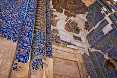 earthquaked (freakingrabbit) Tags: heritage culture historical religious landmark intricate column architecture building old tourism religion historic blue tiles mosque masjed moschee iran persia tabriz east azerbaijan earthquake damage
