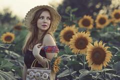 Kata (gagarose70) Tags: portrait people photo sunset sunflowers woman flower girl bokeh belgrade beauty bag hats photography artphoto nature canon