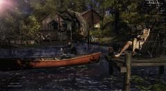 Sunny Morning (SLRedFire) Tags: elysion slphotos secondlifephotos secondlife slpictures boat hanging oiut people landscape water lake camping