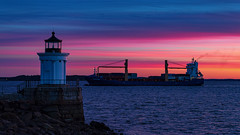 Portland Harbor (Bob90901) Tags: portland harbor sunrise maine southportland buglight civiltwilight autumn bluehour goldenhour rpg90901 seascape seashore lighthouse ship containership canon 6d canonef70200mmf28lisiiusm canon70200f28lll color ocean sky buglightpark sea shore 2016 september 0621 dawn water clouds