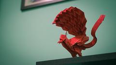 Lyrebird (Arturo-) Tags: satoshi kamiya origami lyrebird pássaro lira papel paper dobradura tissuefoil sanduíche vermelho red ave complex complexo works