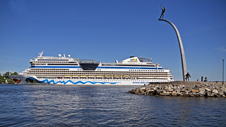 The cruise ship AIDAmar arriving in Stockholm, as seen from Nacka Strand