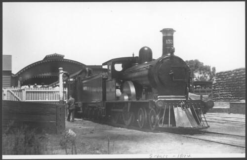 South Australia loco SAR S132 on passenger train in station (jr-038)