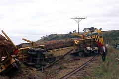 82-0-1496:  Derailment at Preservation Bay,  20-5-1974 (EBRG16) Tags: tasmanianrailways tgr freighttrain logtrain englishelectric ee gec zclass preservationbay derailment