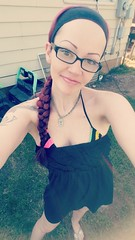Lol im hiding my hair until it gets dyed again 😂 NEVER everr bleaching it again, it is no longer purple n red, its uhmm I dont even know lol (liquidpopqt6969) Tags: swimming summer 4thofjuly sundress cutefeet flipflops anklet glasses hazeleyes pale