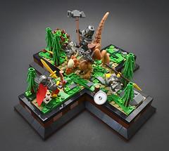 Breach (Full) (Klikstyle) Tags: lego medieval castle knight dinosaur stygimoloch vignette battle
