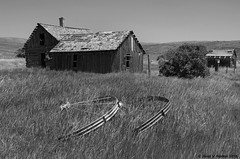 Chesterfield Farmhouse (walkerross42) Tags: abandoned house farm logcabin irrigation wheel shed field chesterfield idaho ghosttown monochrome blackandwhite