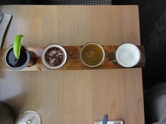 Beer flight from above (jamica1) Tags: kvr pub penticton okanagan bc british columbia canada beer