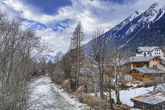 Small river in Chamonix, France (www.alexandremalta.com) Tags: alexandremalta village clouds montain winter snow river france chamonix
