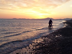 Cycling into the sunset (lesleydugmore) Tags: sunset dawn sun orange yellow gold sea sand seaside tide ocean water cycling cyclist bike beach barmouth northwales snowdonia uk britain europe outside outdoor serene tranquil peaceful