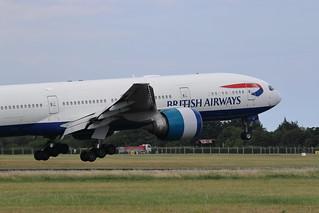 G-VIIH Boeing 777-200ER British Airways Landing at Dublin Airport for painting by IAC 19-7-18 (2 of 3)