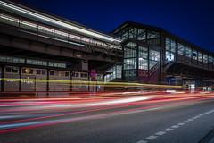 Night traffic (Ulrich Neitzel) Tags: hamburg baumwall city hochbahn lichter lights livecomposite longtimeexposure mzuiko1240mm metro nacht night olympusem1 station ubahn