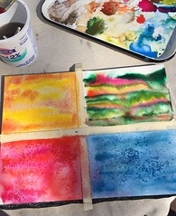 Sunday Fun (Pink Knitter) Tags: coloryourlife18 salt pallet paper watercolor