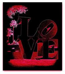 love is NOT blue (milomingo) Tags: love sculpture art a~i~a photoart text frame photoborder arizona scottsdale southwest black grain texture neon vivid vibrant pink red robertindiana robertindianaslovesculpture publicart modernart blackbackground
