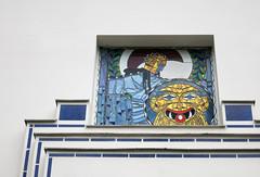 Mosaik (Don Claudio, Vienna) Tags: hüttendorf wien vienna penzing otto wagner jugendstil ernst fuchs kolo moser ben tieber secessionismus koloman glasmosaik mythologie