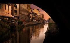 Naviglio Pavese (opjuhola) Tags: bridge footbridge dusk arch street light city cityscape main river canal reflection skyline evening italia milan milano navigli water op