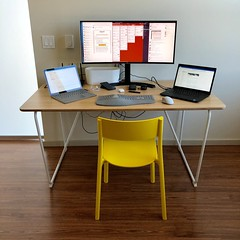 The first phase of my desk set up is done. Having one keyboard & one mouse is a sweet thing. I am still waiting for more machines from Cambodia.  #desksetup #desk #computer (Seattle Raindrops) Tags: desksetup desk computer