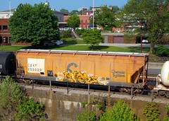 CSXT 255229 (Proto-photos) Tags: chessiesystem acf csxt csx railcar freightcar coveredhopper hc47 train railroad connellsville pennsylvania rollingstock 255229 tagged graffiti vintage patched weathered c113 lo