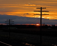 Sunrise along the old NYC Railroad (NS Chicago Line) (monon738) Tags: telephone telegraph electricity railroad railway insulator glassinsulator indiana noblecounty pentax k3 power powerlines codeline poleline electric old sunrise smcpda50135mmf28edifsdm