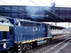 Central of New Jersey 3681 (CPShips) Tags: centralofnewjersey njdot emd gp40p newark 1976 clerestorycoachusstock newjersey cnj