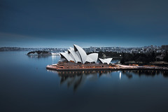 Opera House cool tone. (Brook Attakorn BK) Tags: sydney house opera australia architecture landmark travel city building skyline harbour cityscape sky harbor water bridge wales tourist tourism sea urban south new landscape holiday australian famous bay summer view modern blue sunset icon dusk attraction skyscraper nsw vacation art night colorful scenic design culture boat ferry tower illustration lights