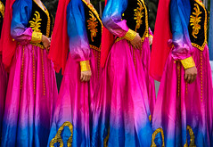 Four Maidens Dancing (Repp1) Tags: bc canada fusionfestival hollandpark people surrey costumes red blue gold rouge bleu dor dancers danseuses