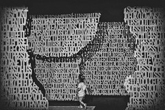 "La petite Poucette, perdue dans ""Ma ville"" (Isa-belle33) Tags: urban urbain city ville exposition art streetart grafitti children enfant girl kid fille bnw fujifilm letters lettres blackwhite blancetnoir blackandwhite dédale"