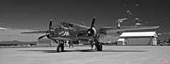 North American B-25 Mitchell (MBates Foto) Tags: aircraft airport availablelight aviation b25 blackandwhite bomber daylight existinglight flight flightline hanger monochrome nikkorlens nikon nikond810 nikonfx outdoors pacificnorthwest spokane washington unitedstates 99224