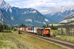 CN, Henry House, Jasper, 18.06.2016 (miroslav.volek) Tags: alberta jasper national park cn canadian freight train english north south snow nature double track canada tree forest pacific transcontinental road landscape grass wood sky mountain